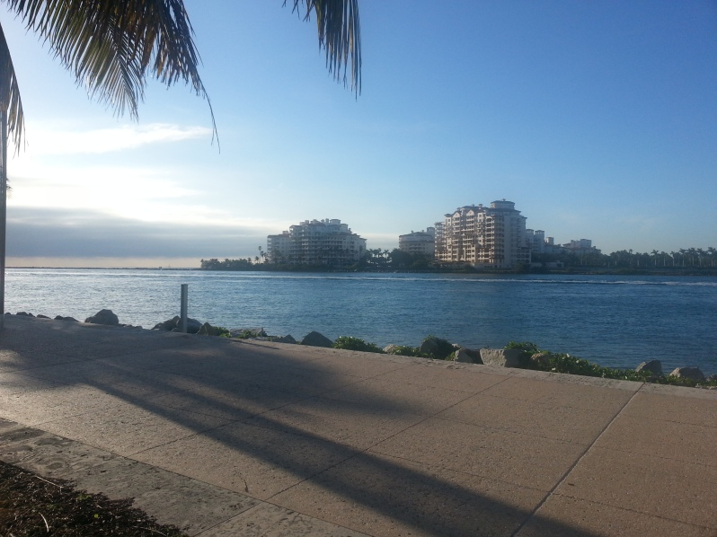 View from South Pointe Park across the water to Fisher Island